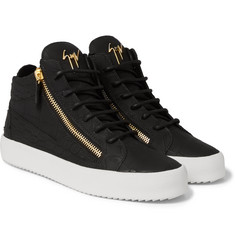 Giuseppe Zanotti - Croc-Effect Leather High-Top Sneakers