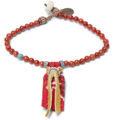 Mikia Suede and Coral Bead Bracelet