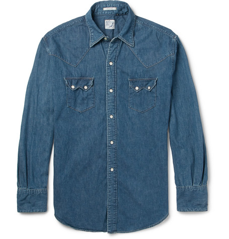 Orslow Denim Western Shirt In Mid Denim