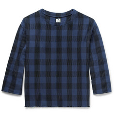 Sasquatchfabrix. Sashiko Embroidered Checked Cotton T-Shirt