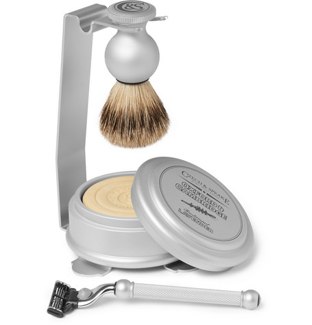 CZECH & SPEAKE Oxford & Cambridge Shaving Set And Stand in Silver