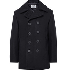 Schott Slim-Fit Double-Breasted Melton Wool-Blend Peacoat