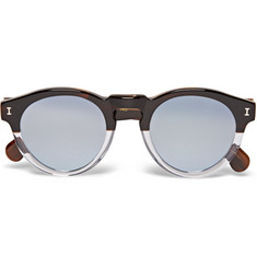Illesteva - Leonard Round-Frame Two-Tone Acetate Mirrored Sunglasses