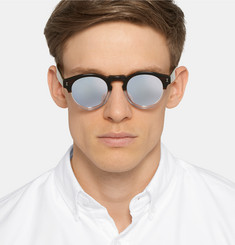 Illesteva Leonard Round-Frame Two-Tone Acetate Mirrored Sunglasses