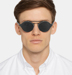 Illesteva Milan Round-Frame Matte-Acetate and Metal Sunglasses