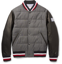 Moncler Gamme Bleu - Quilted Wool and Leather Down Bomber Jacket
