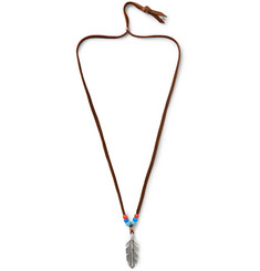 Peyote Bird - Buffalo Leather, Bead and Sterling Silver Necklace