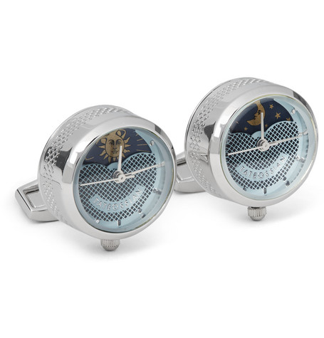 tateossian male tateossian sun moon stainless steel cufflinks silver