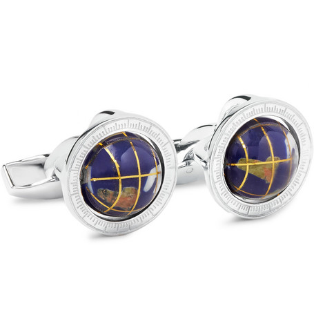 tateossian male tateossian globe cage sterling silver multistone cufflinks silver
