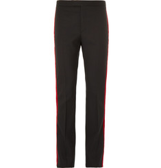 Saint Laurent Black Velvet-Trimmed Wool Trousers
