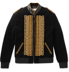 Saint Laurent Slim-Fit Embellished Cotton-Velvet Bomber Jacket