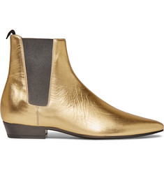 Saint Laurent Devon Metallic Leather Chelsea Boots