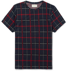Oliver Spencer Conduit Slim-Fit Plaid Knitted Cotton T-Shirt