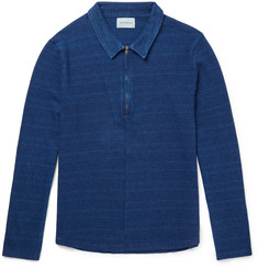 Oliver Spencer - Faro Slim-Fit Indigo-Dyed Cotton Half-Zip Shirt