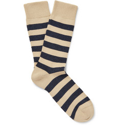 Oliver Spencer Striped Stretch Cotton-Blend Socks