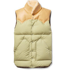 Rocky Mountain Featherbed Christy Leather and Shearling-Trimmed Shell Down Gilet