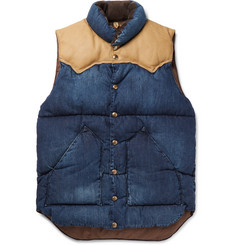 Rocky Mountain Featherbed Slim-Fit Leather and Corduroy-Trimmed Denim Down Gilet