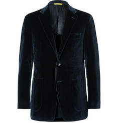 Canali Blue Kai Slim-Fit Unstructured Cotton-Velvet Blazer