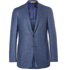 Canali Blue Kei Slim-Fit Super 120s Wool-Bouclé Blazer
