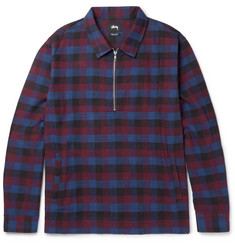 Stüssy - Slim-Fit Checked Cotton Half-Zip Overshirt