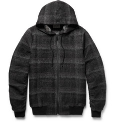 Public School Ollan Checked Textured-Flannel Zip-Up Hoodie