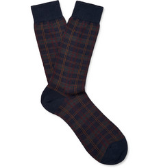 Pantherella Greenwich Checked Merino Wool-Blend Socks