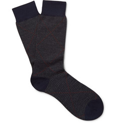 Pantherella Bedford Puppytooth Escorial Wool-Blend Socks