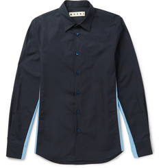 Marni Slim-Fit Contrast-Panelled Cotton Shirt