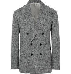 Camoshita Grey Slim-Fit Unstructured Checked Wool Blazer