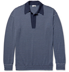 Camoshita Striped Knitted Wool and Cashmere-Blend Polo Shirt