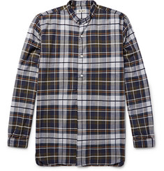 Camoshita Grandad-Collar Checked Cotton-Blend Flannel Shirt