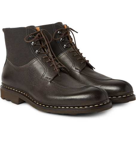 HESCHUNG GINKGO PEBBLE-GRAIN LEATHER AND CANVAS BOOTS