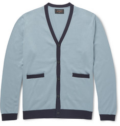 Beams Plus Slim-Fit Contrast-Trimmed Cotton Cardigan