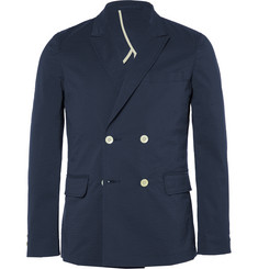 Beams Plus Blue Slim-Fit Double-Breasted Seersucker Blazer