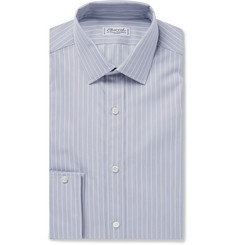 Charvet Grey Slim-Fit Striped Cotton-Poplin Shirt