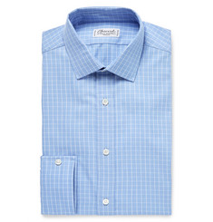 Charvet Blue Checked Cotton Shirt