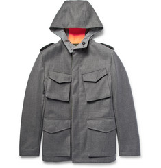Wooster + Lardini Reversible Wool and Shell Hooded Field Jacket