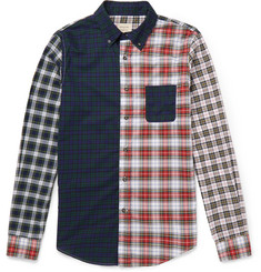 Wooster + Lardini Button-Down Collar Patchwork Cotton Shirt