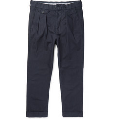 Wooster + Lardini - Tapered Pleated Cotton-Canvas Trousers