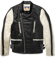 Blackmeans - Two-Tone Satin Biker Jacket