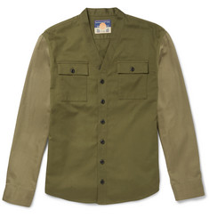 Blackmeans Slim-Fit Two-Tone Cotton-Drill Overshirt