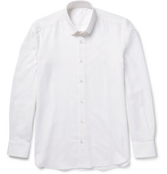 Caruso - Slim-Fit Penny-Collar Brushed Cotton and Wool-Blend Twill Shirt
