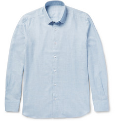 Caruso - Slim-Fit Penny-Collar Cotton and Wool-Blend Shirt