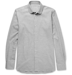 Caruso Slim-Fit Penny-Collar Brushed-Cotton Twill Shirt