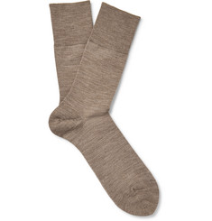 Falke - Airport Mélange Wool And Cotton-Blend Socks