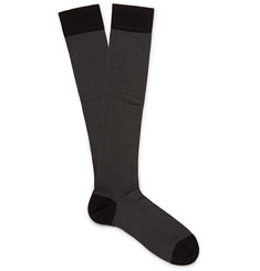 Marcoliani Birdseye-Knit Pima Cotton-Blend Over-the-Calf Socks