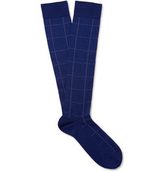 Marcoliani Checked Pima Cotton-Blend Over-the-Calf Socks