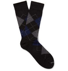Marcoliani Argyle Merino Wool-Blend Socks