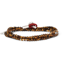 Isaia - Saracino Tiger's Eye and Silver Wrap Bracelet