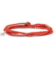 Isaia - Saracino Coral and Silver Wrap Bracelet